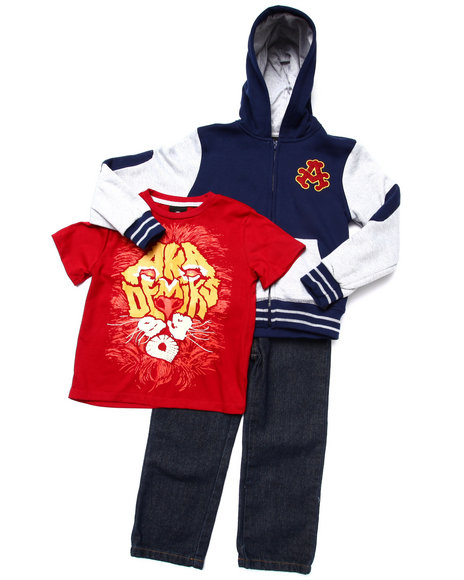 Akademiks - Boys Navy 3 Pc Set - Varsity Hoody, Tee, & Jeans (4-7)