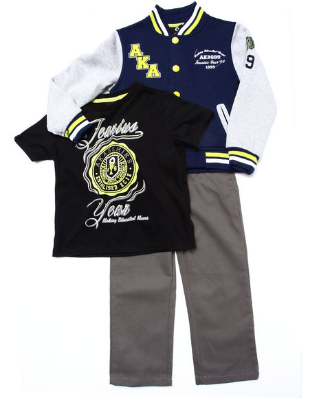 Akademiks - Boys Navy 3 Pc Set - Varsity Jacket, Tee, & Jeans (4-7)