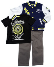 Sets - 3 PC SET - VARSITY JACKET, TEE, & JEANS (2T-4T)