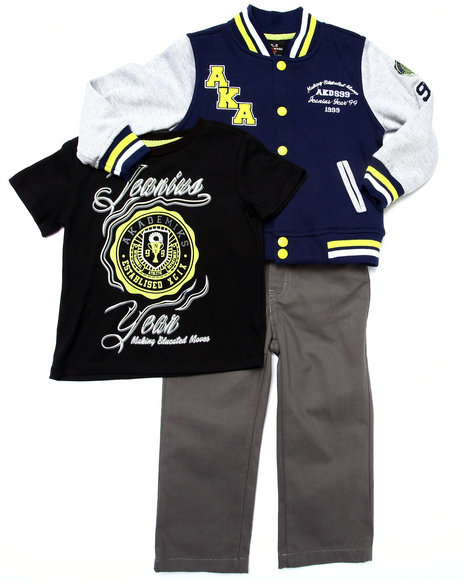 Akademiks - Boys Navy 3 Pc Set - Varsity Jacket, Tee, & Jeans (2T-4T)
