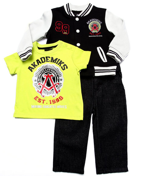 Akademiks - Boys Lime Green,Black 3 Pc Set - Varsity Jacket, Tee, & Jeans (Infant)