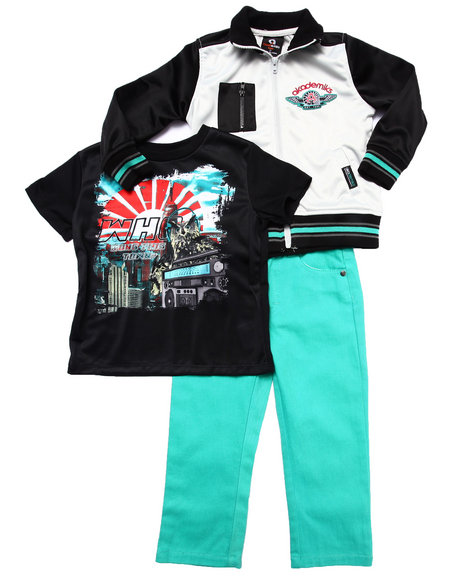 Akademiks - Boys Black,Teal 3 Pc Set - Varsity Jacket, Tee, & Jeans (2T-4T) - $42.99