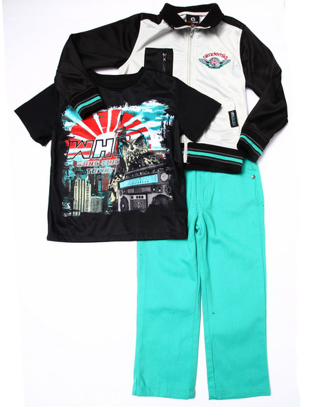 Akademiks - Boys Black,Teal 3 Pc Set - Varsity Jacket, Tee, & Jeans (4-7)