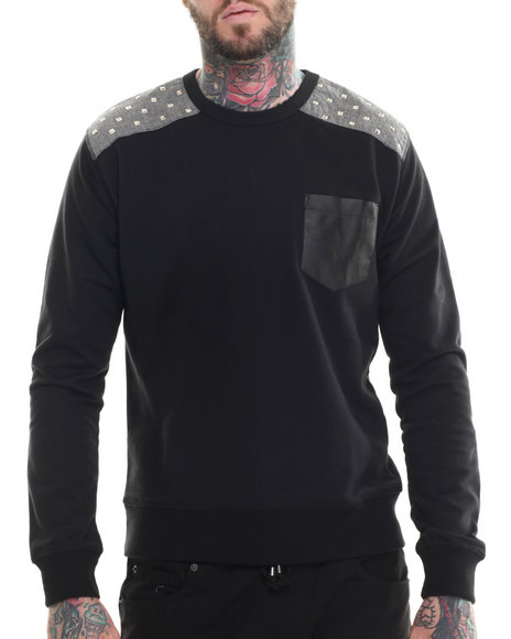 Buyers Picks - Men Black Rockstar Shoulder Chambray Trim Sweatshirt
