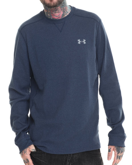 Ur-ID 186439 Under Armour - Men Navy Amplify L/S Thermal Shirt (Traps Warmth & Anti-Odor Technology)