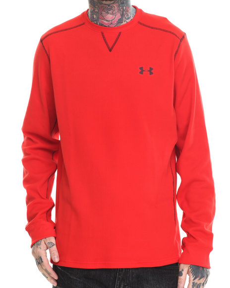 Ur-ID 186442 Under Armour - Men Red Amplify L/S Thermal Shirt (Traps Warmth & Anti-Odor Technology)