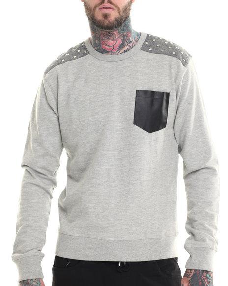Buyers Picks - Men Grey Rockstar Shoulder Chambray Trim Sweatshirt - $23.99
