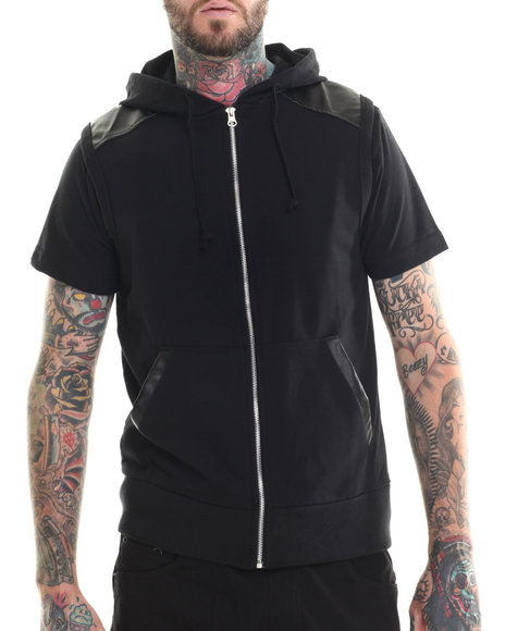 Buyers Picks - Men Black Zip Front Sleeveless Hoody