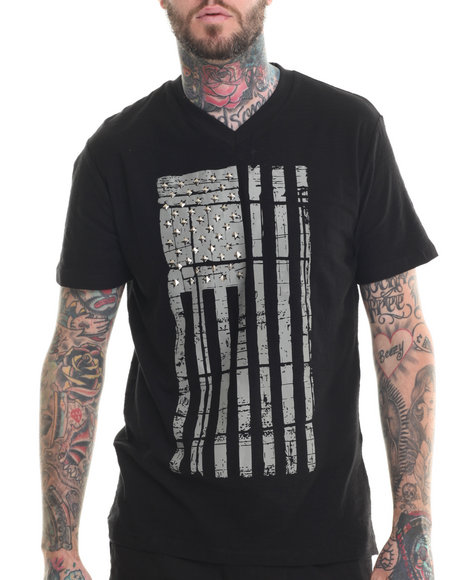 Buyers Picks - Men Black Patriots V-Neck S/S Tee