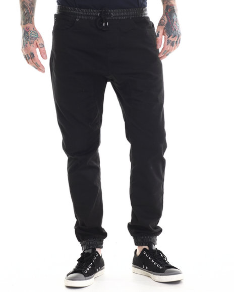 Buyers Picks - Men Black Twill Jogger Pant W/ Faux Leather Bottom Cuff