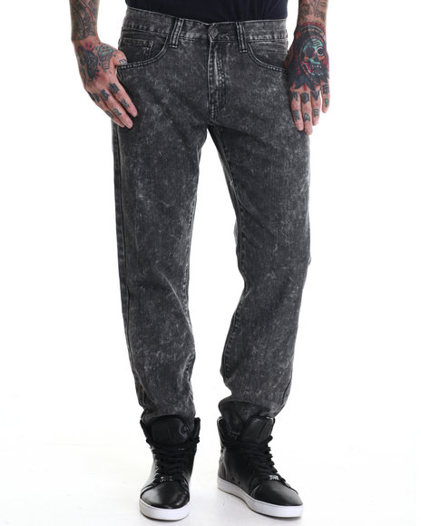 Buyers Picks - Men Grey Slash Acid Wash Denim Jeans