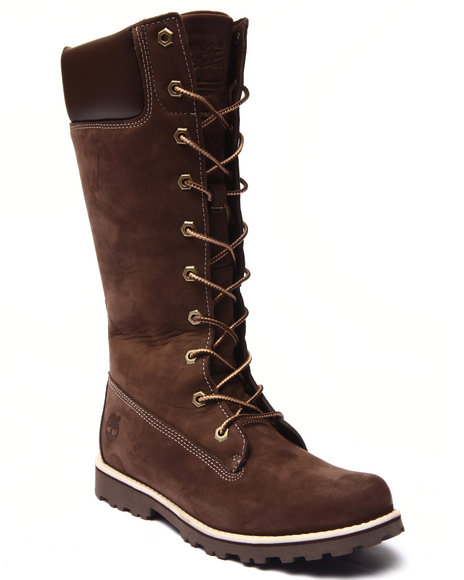 Timberland - Girls Brown Asphalt Trail Girls Classic Tall Lace Up Boots