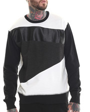 Sweatshirts & Sweaters - Cut & Sewn Faux leather detail sweatshirt