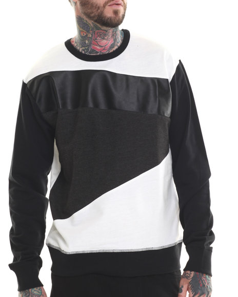 Buyers Picks - Men Black,White Cut & Sewn Faux Leather Detail Sweatshirt - $37.99