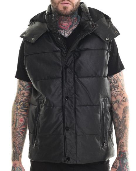 Sean John - Men Black Quilted Faux Leather Vest