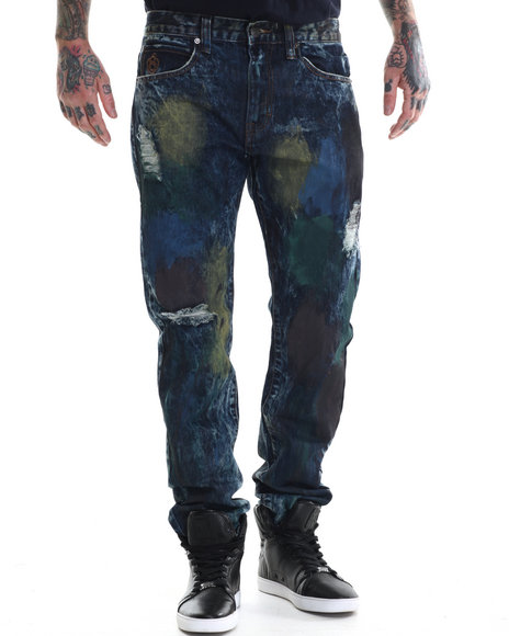 Eight 732 - Men Vintage Wash Map Denim Jean