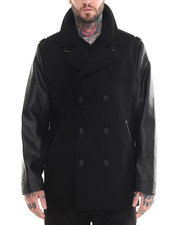 Men - Faux - Leather Sleeved Wool Peacoat