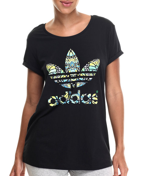 Adidas - Women Black Butterfly Logo Tee