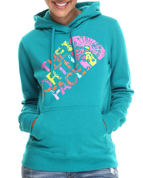 The North Face - Women Teal Abstract Flower Pullover Hoodie