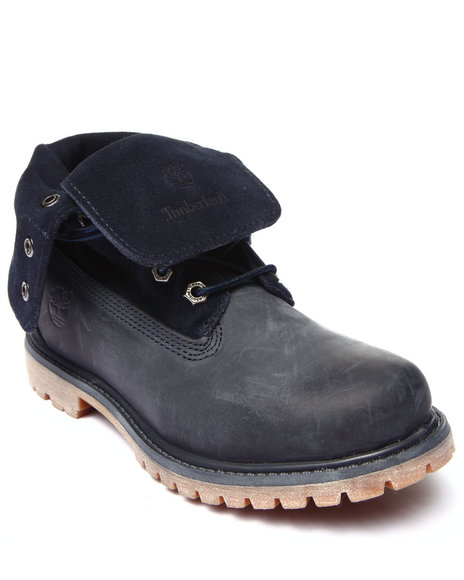 Timberland - Women Navy Timberland Earthkeepers Timberland Authentics Suede Roll Top Boots