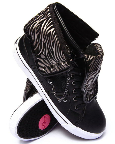 Pastry - Women Black Sugar Rush Studded Zebra Trim Sneaker