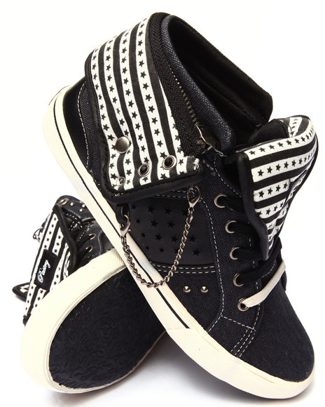 Pastry - Women Black Pinwheel Stars & Stripes Convertible Sneaker