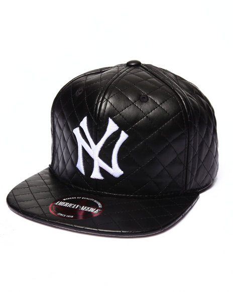 Ur-ID 222922 American Needle - Men Black New York Yankees Faux Leather Quilted Strapback Hat
