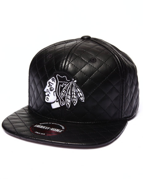 Ur-ID 222923 American Needle - Men Black Chicago Blackhawks Faux Leather Quilted Strapback Hat