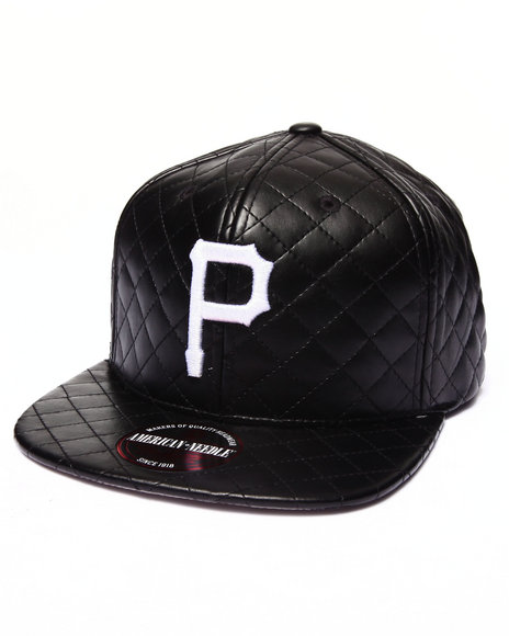 American Needle Men Pittsburgh Pirates Faux Leather Quilted Strapback Black