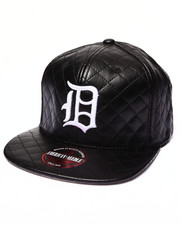 Men - Detroit Tigers Faux Leather Quilted Strapback hat