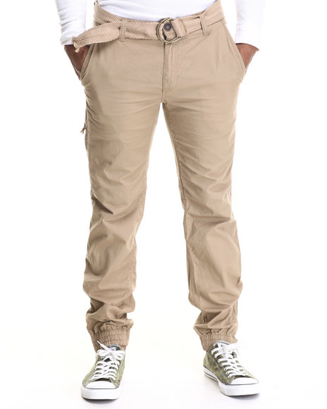 Buyers Picks - Men Khaki Angle Zip Pocket Heavy Washed Belted Cargo Pants