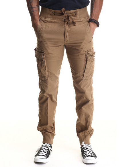 Buyers Picks - Men Light Brown Lt Twill Cargo Jogger Pants