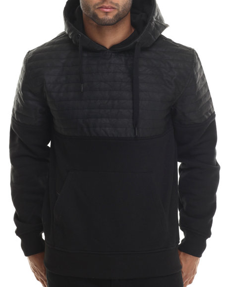 Buyers Picks - Men Black Quilted Detail Pullover Hoody - $19.99