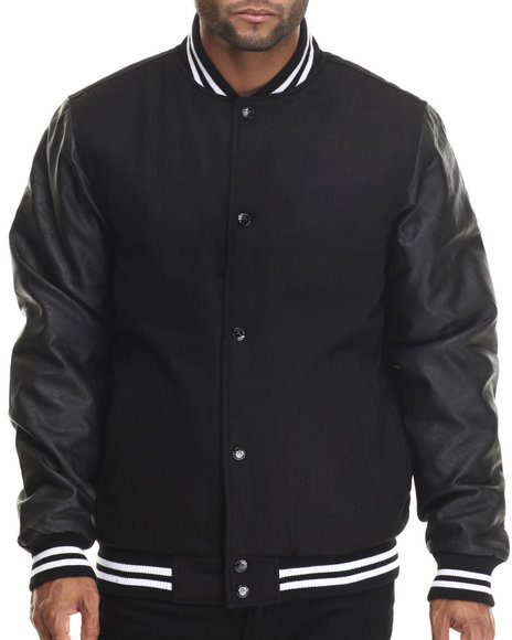 Buyers Picks - Men Black Melton Wool & Metallic Faux Leather Sleeves Varsity Jacket