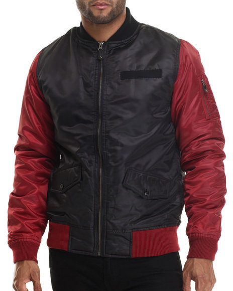 Buyers Picks - Men Maroon Diamond Quilted Flight Jacket