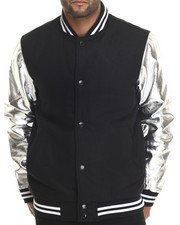 Buyers Picks - Melton Wool & Metallic Faux leather sleeves Varsity Jacket