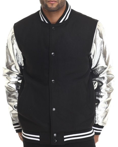 Buyers Picks - Men Silver Melton Wool & Metallic Faux Leather Sleeves Varsity Jacket
