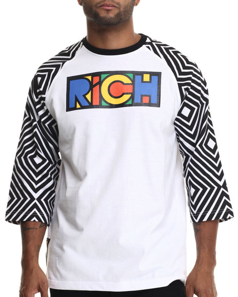 Eight 732 - Men White Make It Rich Raglan