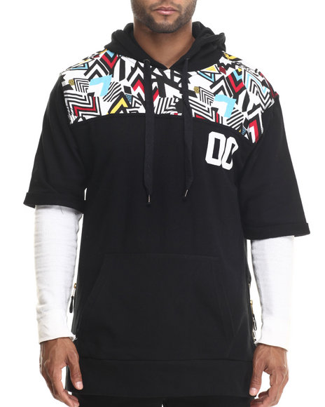 Buyers Picks - Men Black Colored Zebra Retro Print S/S Pullover Hoodie - $18.99