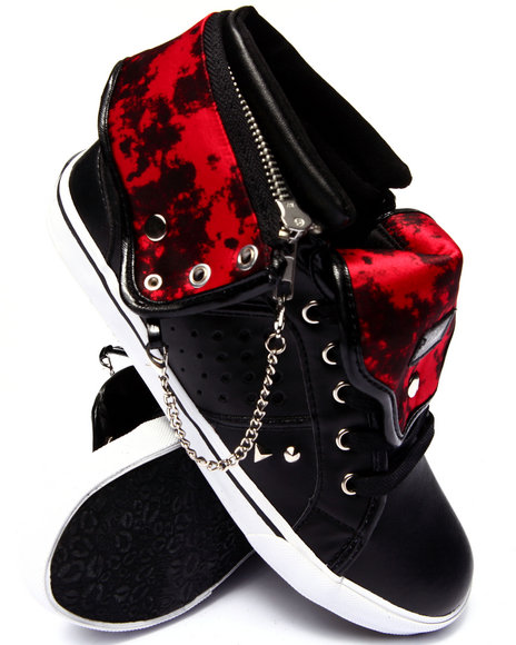 Pastry - Women Black,Red Pinwheel Vegan Leather Sneaker - $50.00