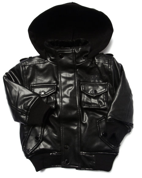 Akademiks - Boys Black Faux Leather Utility Jacket (Infant)