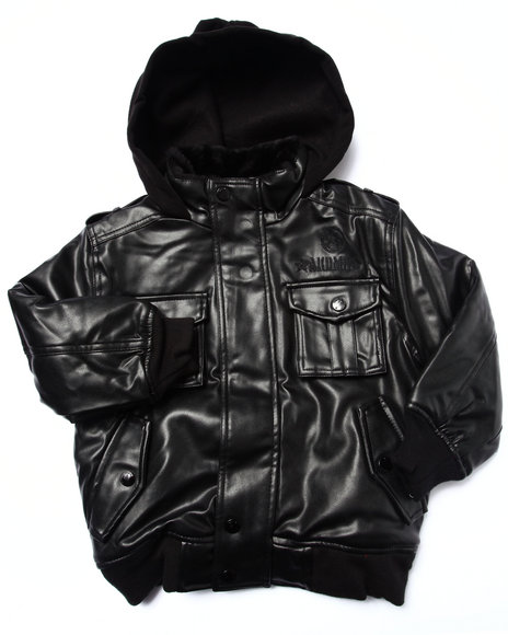 Akademiks - Boys Black Faux Leather Utility Jacket (4-7)