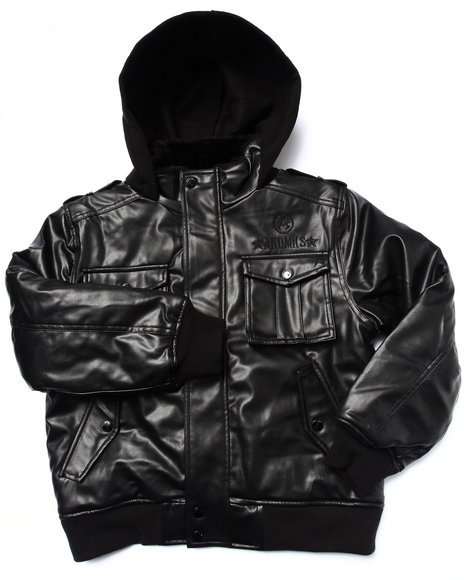 Akademiks - Boys Black Faux Leather Utility Jacket (8-20)