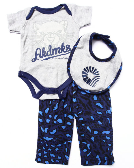 Akademiks - Boys Blue 3 Pc Set - Bodysuit, Leopard Pants, & Bib (Newborn)
