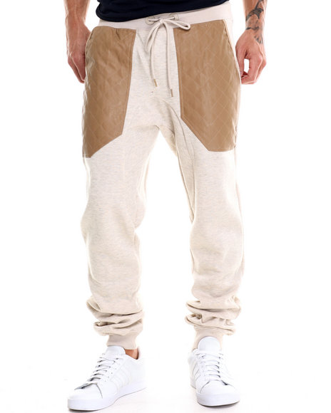 Buyers Picks - Men Wheat Quilted - Pu - Trimmed French Terry Jogger