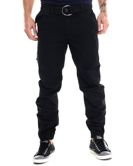Buyers Picks - Men Black Angle Zip Pocket Heavy Washed Belted Cargo Pants