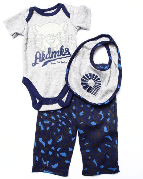 Akademiks - Boys Brown,Grey 3 Pc Set - Bodysuit, Leopard Pants, & Bib (Newborn)