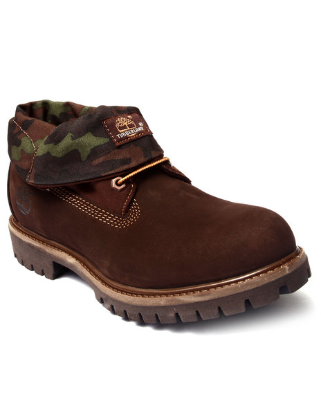 Ur-ID 186627 Timberland - Men Brown,Camo Timberland Icon Roll Top Leather And Camo Fabric Boots
