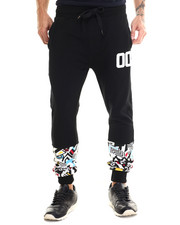 Men - Colored Zebra Retro Print Knit Jogger Pants