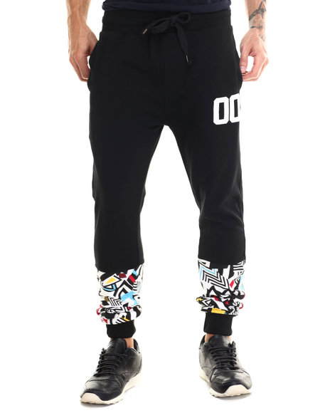 Ur-ID 186635 Buyers Picks - Men Black Colored Zebra Retro Print Knit Jogger Pants